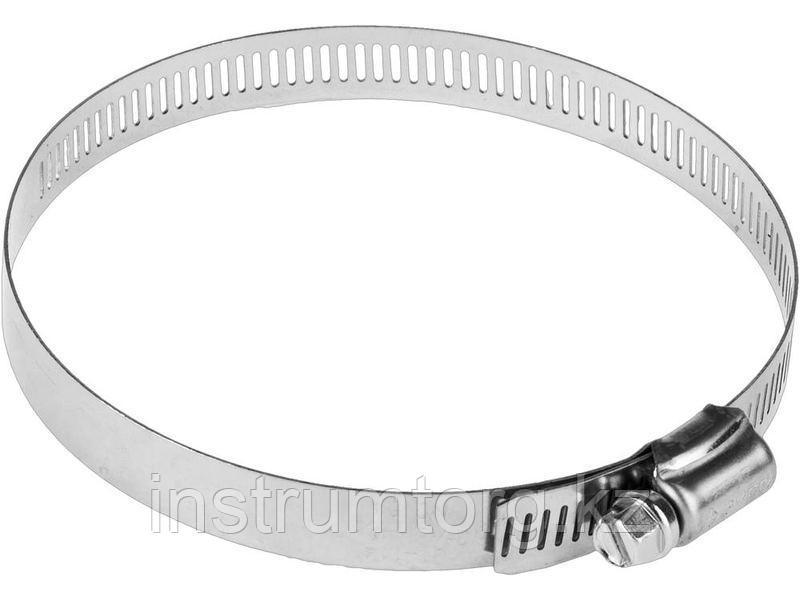 Хомуты, нерж. сталь, просечная лента 12.7 мм, 57-76 мм, 2 шт, ЗУБР Профессионал