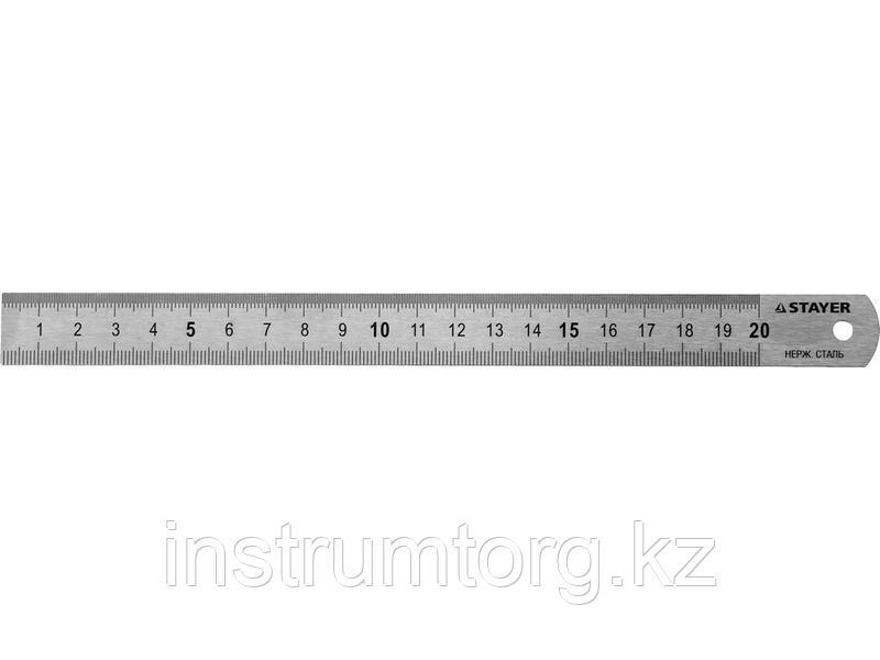 """Линейка STAYER """"PROFI"""" нержавеющая, двухсторонняя гравированная шкала, 0,5м"""