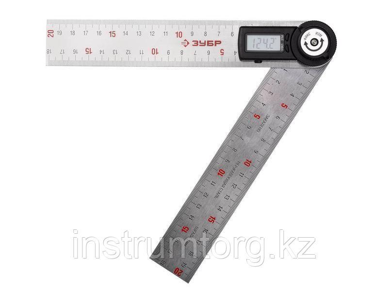 УТЭ-20 транспортир-угломер электронный, 200 мм, Диапазон 0-360°, Точность 0,3°, Фиксация угла, ЗУБР Профессионал