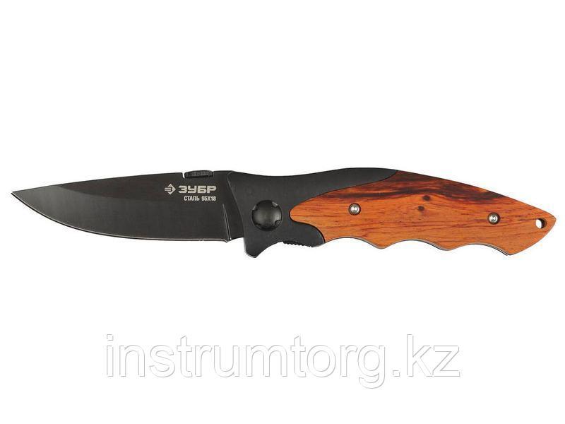 """Нож ЗУБР """"ПРЕМИУМ"""" СТРЕЛЕЦ складной универсальный, металлическая рукоятка с деревянными вставками,"""