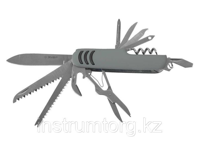 """Нож ЗУБР """"МАСТЕР"""" складной многофункциональный, """"12 в 1"""", обрезиненная рукоятка"""