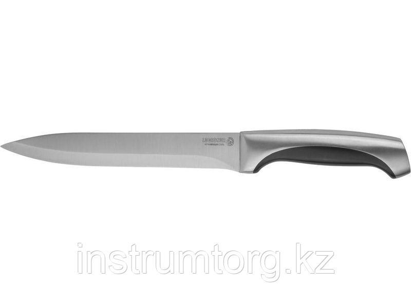 """Нож LEGIONER """"FERRATA"""" нарезочный, рукоятка с металлическими вставками, лезвие из нержавеющей стали, 200мм"""