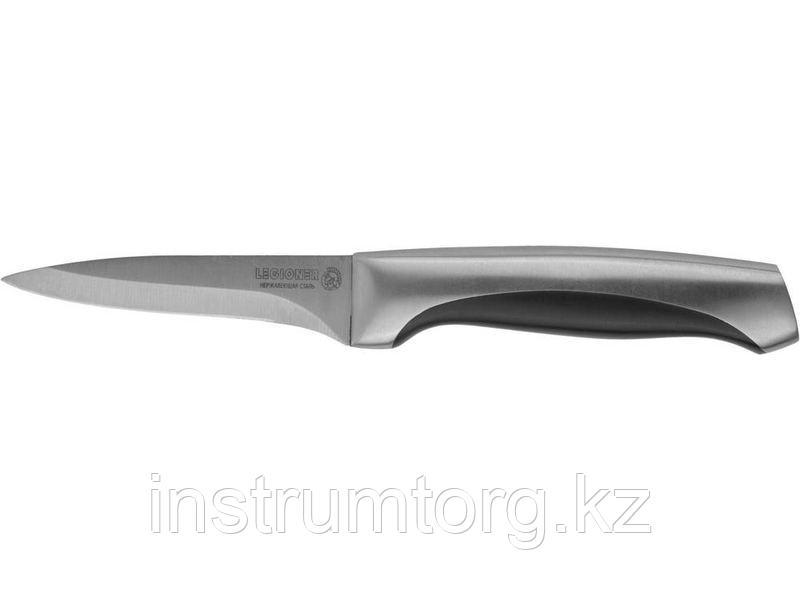 """Нож LEGIONER """"FERRATA"""" овощной, рукоятка с металлическими вставками, лезвие из нержавеющей стали, 90мм"""
