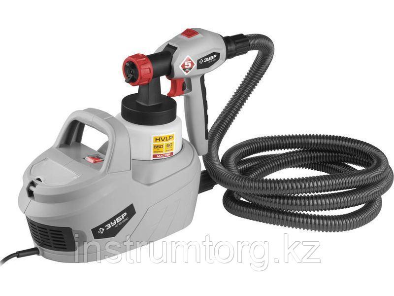 Краскопульт (краскораспылитель) электрич, ЗУБР КПЭ-650, HVLP, 0.8л, краскоперенос 0-700мл/мин, вязкость краски