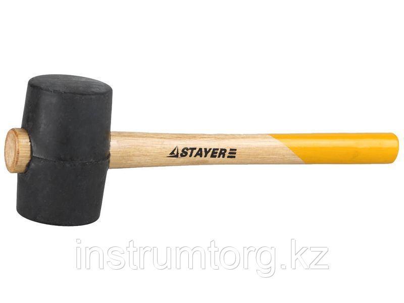 Киянка STAYER резиновая черная с деревянной ручкой, 450г
