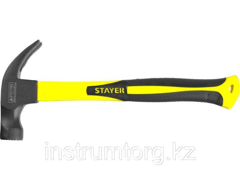 STAYER Fiberglass-M 450 г молоток-гвоздодёр столярный c фиберглассовой рукояткой