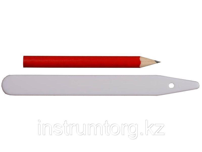 """Набор меток-ориентиров GRINDA для засеянных грядок: 25 ярлыков (тип - """"полоска"""") + карандаш, 125 мм"""