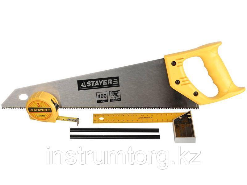 """Набор STAYER """"STANDARD"""" для столярных работ: ножовка по дереву 400 мм, угольник 200 мм, рулетка 3 м, 2"""