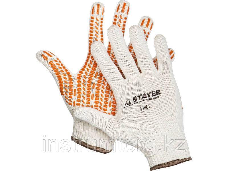 """STAYER TRACK, размер L-XL, перчатки с увеличенной площадью ПВХ-гель покрытия """"протектор"""", х/б 10 класс."""