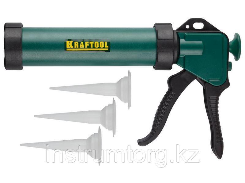 KRAFTOOL универсальный закрытый пистолет для герметика Professional, 3 сменных сопла.