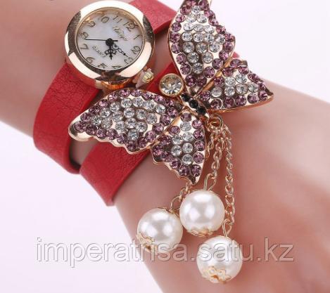 """Часы женские наручные """"Игривая бабочка"""" красные"""