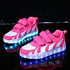 LED Кроссовки детские со светящейся подошвой, бело-розовые волны