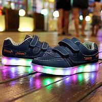 LED Кроссовки детские со светящейся подошвой, классические синие, низкие, фото 1