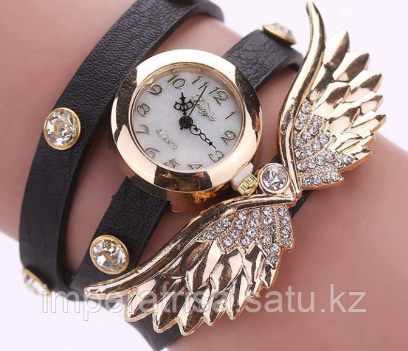 "Часы-браслет ""Крылья"" черные"