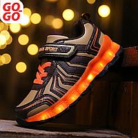 LED Кроссовки детские со светящейся подошвой, хаки, sport, фото 1