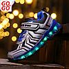 LED Кроссовки детские со светящейся подошвой, синие, sport
