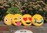Стильная подушка круглая желтый смайлик диаметр 30 см