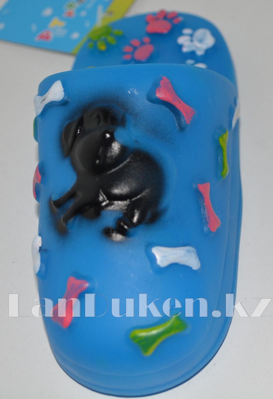 """Игрушка для собак с пищалкой """"Тапка"""" синяя - фото 3"""