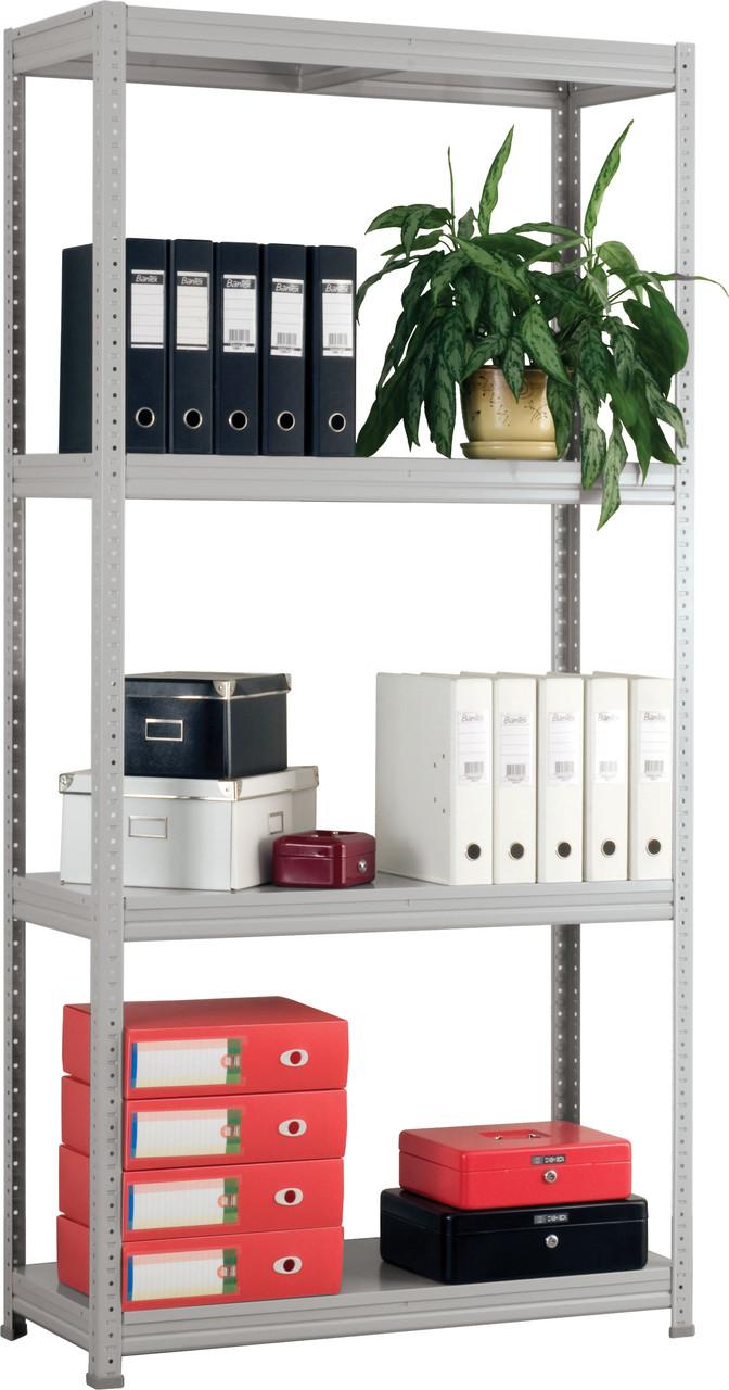 Стеллаж металлический офисный 310/100*30/6 полок серый