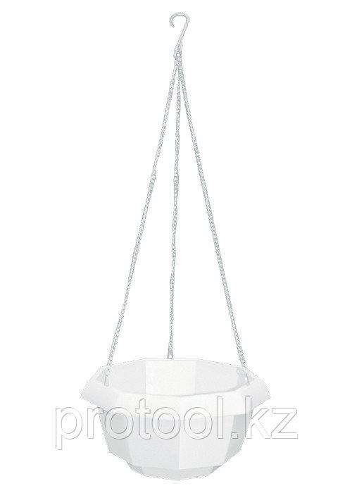 Кашпо подвесное, 200 х 140 мм, пластиковая корзина многогранная// PALISAD