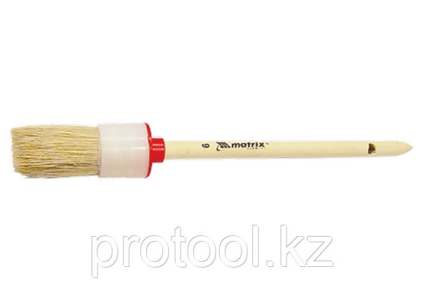 Кисть круглая № 6 (30 мм), натуральная щетина, деревянная ручка// MATRIX, фото 2