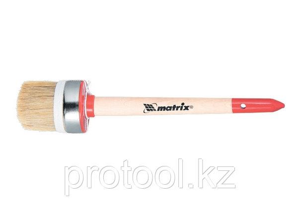 Кисть круглая Профи №14 (50 мм), натуральная щетина, деревянная ручка / MTX, фото 2