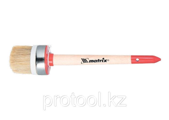 Кисть круглая Профи №8 (35 мм), натуральная щетина, деревянная ручка / MTX
