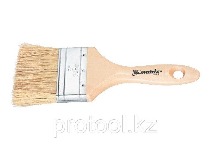 """Кисть плоская """"Евро""""  3"""", натуральная щетина, деревянная ручка// MTX"""