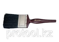 """Кисть плоская """"Декор"""" 3"""" (75 мм), натуральная черная щетина, деревянная ручка// MTX"""