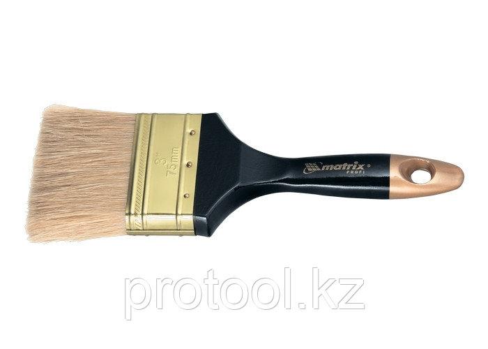 """Кисть плоская """"Профи"""" 2,5"""", натуральная щетина, деревянная ручка// MTX"""
