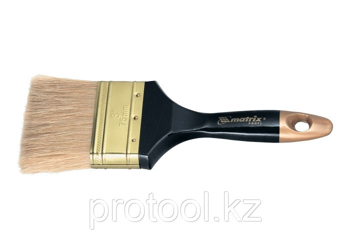 """Кисть плоская """"Профи"""" 3"""", натуральная щетина, деревянная ручка// MTX"""