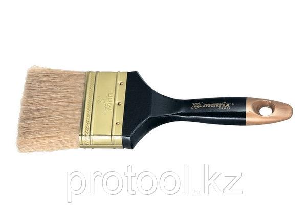 """Кисть плоская """"Профи"""" 3"""", натуральная щетина, деревянная ручка// MTX, фото 2"""