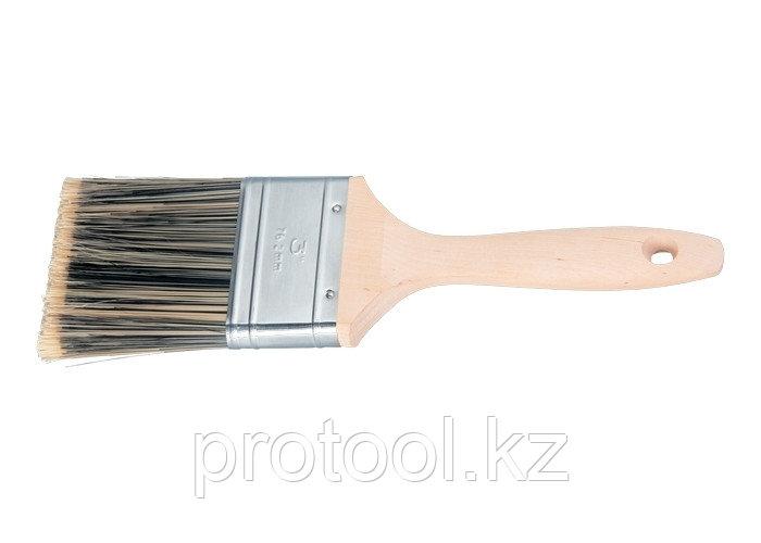 """Кисть плоская Golden 3"""", искусственная щетина, деревянная ручка / MTX"""