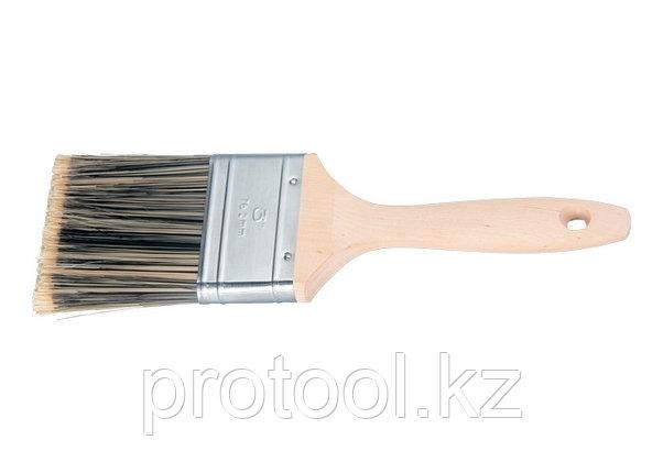 """Кисть плоская Golden 3"""", искусственная щетина, деревянная ручка / MTX, фото 2"""