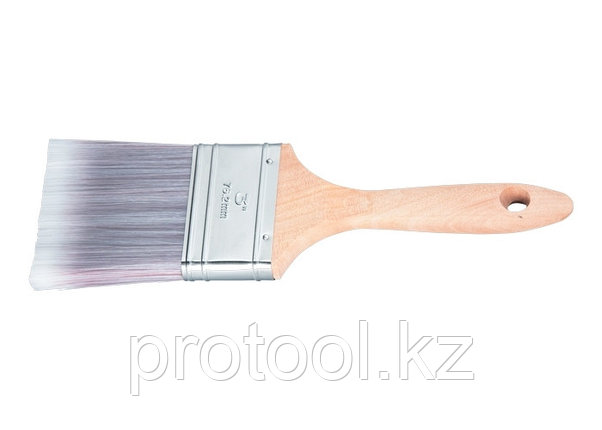"""Кисть плоская Platinum 3"""", искусственная щетина, деревянная ручка / MTX, фото 2"""