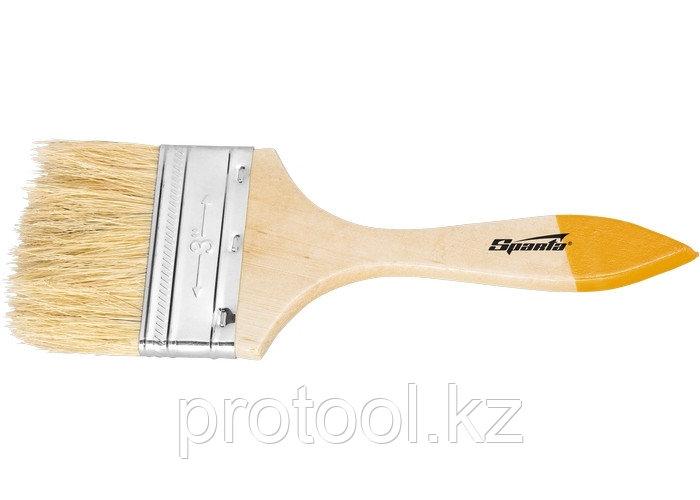 """Кисть плоская Slimline 1,5"""" (38 мм), натуральная щетина, деревянная ручка// SPARTA"""