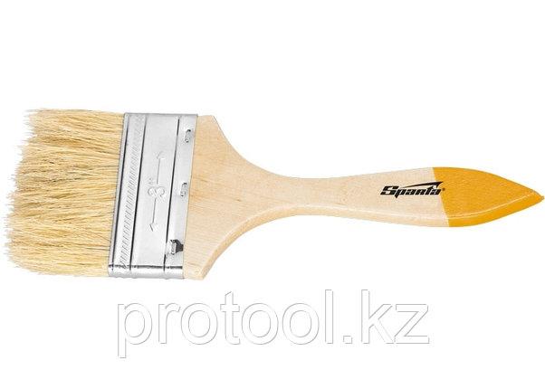 """Кисть плоская Slimline 2,5"""" (63 мм), натуральная щетина, деревянная ручка// SPARTA, фото 2"""