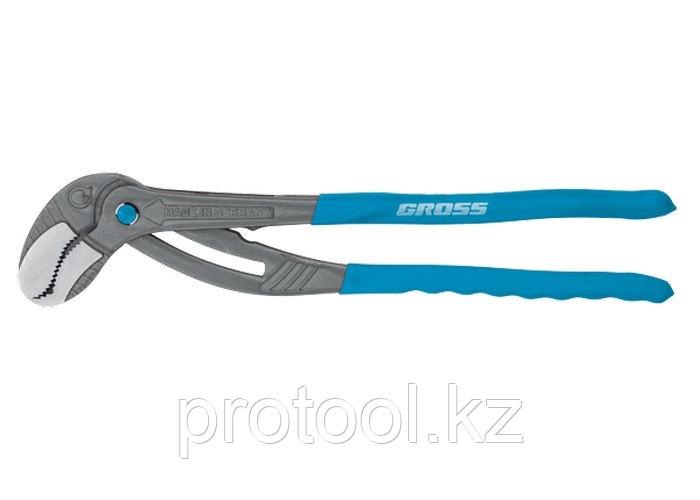 Клещи переставные трубные, S-Pipe, самозажим механизм, облив. рукоятки, хром-ванадий, 400 мм// GROSS