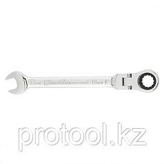Ключ комбинированный трещоточный, 12мм, CrV, шарнирный, зерк.хром// MATRIX PROFESSIONAL