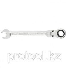 Ключ комбинированный трещоточный, 13мм, CrV, шарнирный, зерк.хром// MATRIX PROFESSIONAL