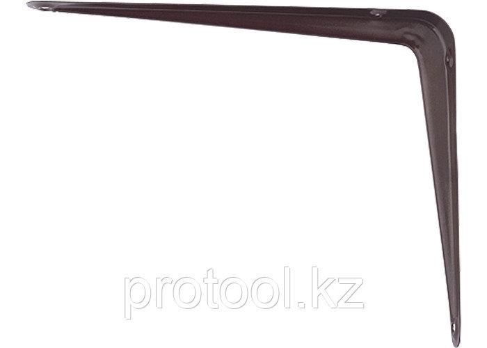 Кронштейн угловой с ребром, 125х150 мм, коричневый// СИБРТЕХ