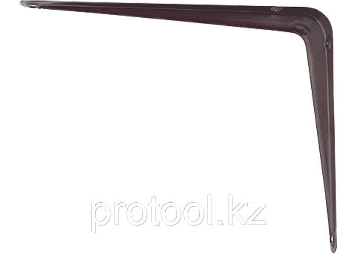 Кронштейн угловой с ребром, 300х350 мм, коричневый// СИБРТЕХ