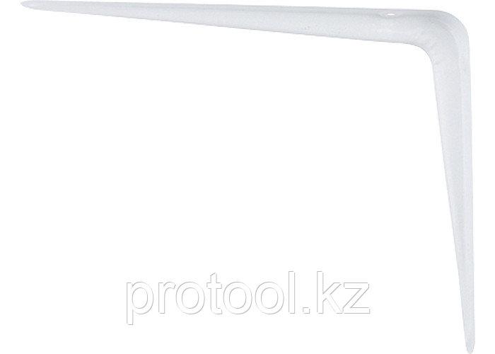 Кронштейн угловой с ребром, 400х450 мм, белый// СИБРТЕХ