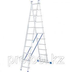 Лестница, 2 х 11 ступеней, алюминиевая, двухсекционная // СИБРТЕХ // Pоссия