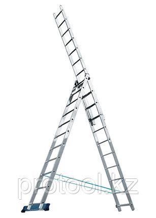 Лестница, 3 х 8 ступеней, алюминиевая, трехсекционная // Pоссия, фото 2