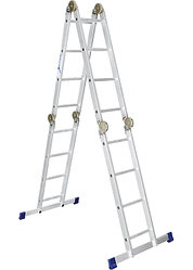 Лестница, 4 х 4 ступени, алюминиевая, шарнирная // Pоссия