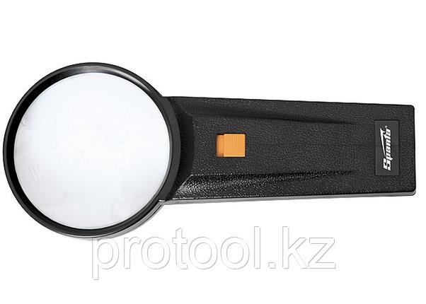 Лупа 2,5-кратная, D 75 мм, с подсветкой, с рукояткой// SPARTA, фото 2