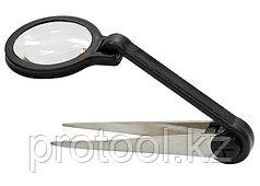 Лупа регулируемая с пинцетом 8-кратная, D 25 мм// SPARTA