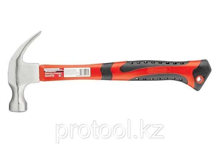 Молоток-гвоздодер, 450 г, боек 27 мм, фибергласовая обрезиненная рукоятка// MATRIX