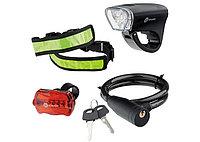 Набор велосипедный : передний и задний фонари LED, светоотражатель и тросовый замок// Stern
